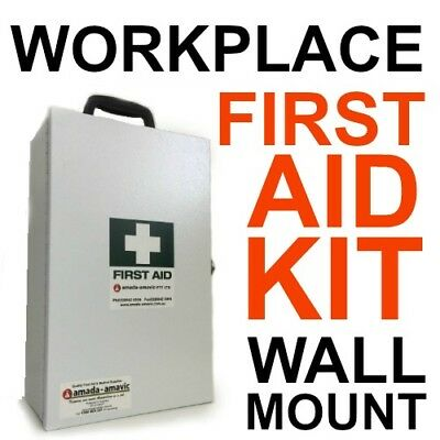 2 x BASIC FIRST AID KITS filled White Metal Wall Mount LEGAL WORK PLACE