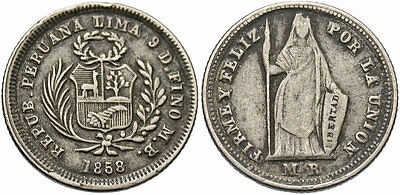 PERU: 1858-LIMA MB 1/2 Real Transitional pre-decimal coinage #WC70172