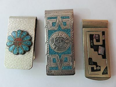 Vintage 1970s Mexico Mexican Money Clip Lot Of 3 Sterling Silver Aztec Mayan