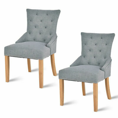 Set Of 2 Armless Dining Chairs Elegant Tufted Design Fabric Upholstered Modern