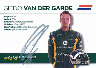 Giedo van der Garde Caterham autograph - Signed 4X6 inches Official 2013 F1 Card