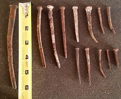 Lot Of Antique Excavated Hand Forged Square Nails 18th Century Era Various Sizes
