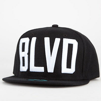 BLVD Supply Block Snapback Cap Hat Black WOOL urban skate Hip Hop Mens Rare  NEW 8826fd55890