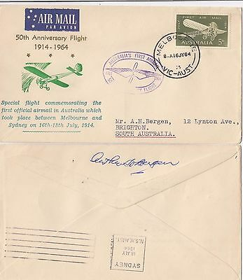 Stamp Australia 5d green on 50th anniversary first flight Bergen cachet cover