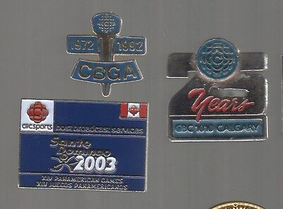 CBC pins: CBGA 92 20th anniv.; 1010 Calgary 25 yrs; Santo Domingo 03 PanAm Games