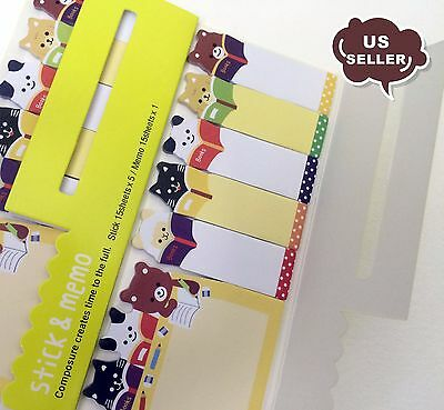 SET OF 2 Cute Cat Bear Animal Kitty Sticker Marker Memo Flags Tab Sticky Notes