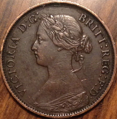1861 Uk Great Britain Farthing Magnificent Example