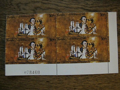 1970 Captain Cook Bicentenary 30c Plate Block of 4, Numbers - MNH Australia