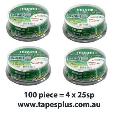 100pk DVD-R 4.7GB hub printable Blank Recordable Discs 25 x 4 Pack Spindle