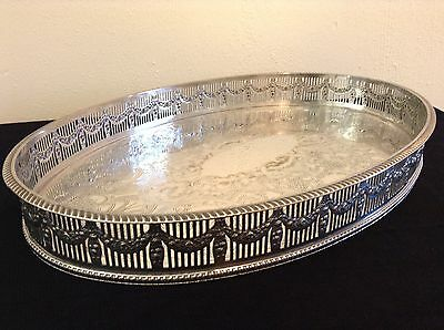 Vintage Silver Plate Galleried Chased Serving Tray -  E.H Parkin & Co Sheffield