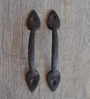 Antique Victorian Iron door cabinet screen handles Pull rustic Arrow Tip 4.7""