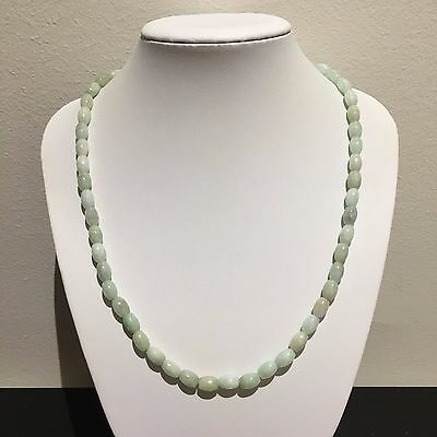 Genuine Natural Chinese Jadeite Jade Green Buddha Oriental Oval Bead Necklace
