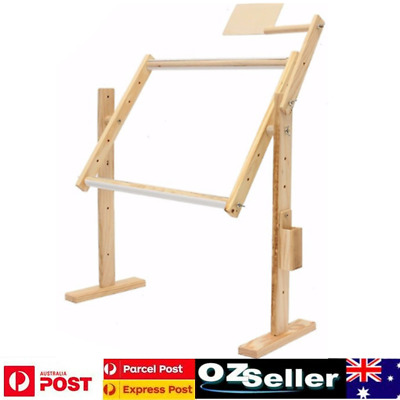 Wood Cross Stitch Frame Embroidery Floor Stand Adjustable Height 30x40x50cm New