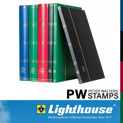 Lighthouse A4 Stockbook 16 Black Pages Green Cover BASIC S16