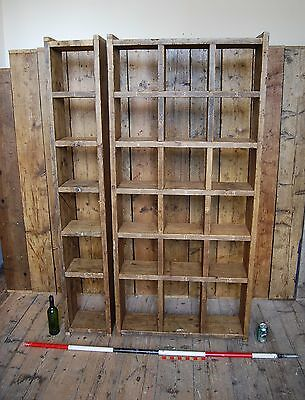 Pigeon holes BOOKCASE 1 col + 3 col industrial rustic salvage wood gplanera
