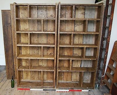 Pigeon holes BOOKCASE x2 pair zig zags industrial rustic salvage wood gplanera