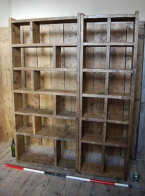 Pigeon holes BOOKCASE 2 col + 3 col industrial rustic salvage wood gplanera