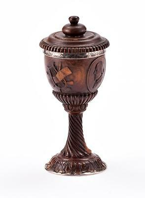 FINELY CARVED SHAKESPEARE MOMENTO MORI CHALICE. Lot 88