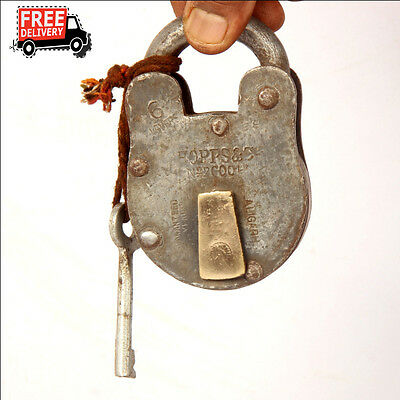 1992's Old Vintage Handcrafted Iron Brass Fitted Padlock, Nice Patina 8324 A