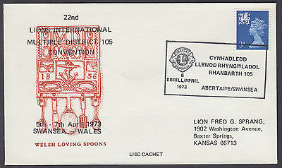 1973 22nd Lions International Convention; Welsh Loving Spoons;Swansea SHS to USA