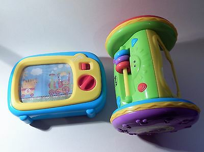 Two Great Wind Up Baby Musical Toys - Tv + Roll Along. Job Lot.