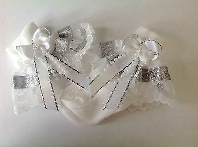 Handmade white & silver beads bow  baby/ girls frilly socks various sizes