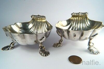ANTIQUE ENGLISH GEORGE III SILVER SCALLOP SHELL SALTS / SALT CELLARS PAIR c1773