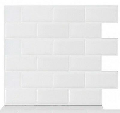 Tic Tac Tiles Peel and Stick Wall Tile in Subway White 10 AHN-BBW01 Home Kitchen