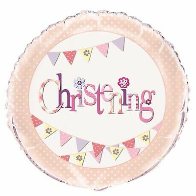 Pink girl christening Baptism Celebration foil balloon