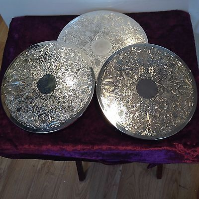 VINTAGE PLACE MATS TABLE CENTRE PIECE SET of 6 SILVER PLATED
