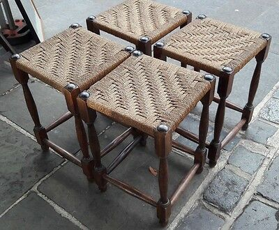SOLID OAK STOOLS With RUSHED / WICKER SEAT