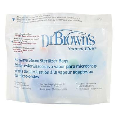 Dr Brown's Baby Bottle Microwave Steriliser Bags Steam Options 100 USES 5 BAGS