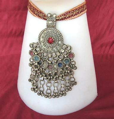 19C. ANTIQUE TURKISH OTTOMAN ISLAMIC HUGE SILVER WEDDING JEWELRY PENDANT,190g