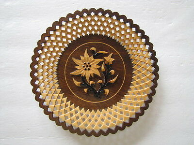 Vintage Hand Carved Wood Decorative Plaque Made in Poland EUC