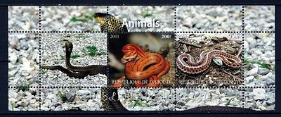 SE7 - Bloc feuillet Neuf ** MNH - Djibouti 2011 - Serpents Snakes