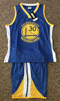 Kids Basketball Jersey #30 Stephen Curry Golden State Warriors 1 Sets Top&shorts