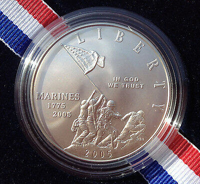 2005 P U.S. Marine Corps 230th Anniversary Silver Dollar Set Plus Bonus Stamps