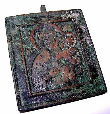 Ancient Madieval bronze icon Depicting saint. #003