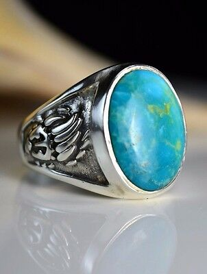 Sterling silver Navajo made Bear paw ring w/ a Easter Blue Turquoise S-13