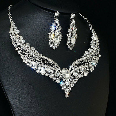 Beauty Wedding Transparent Rhinestone Crystal Necklace Earrings One Set