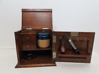 Edwardian Oak Pipe Storage Cabinet Fitted Interior Complete With Contents