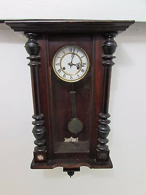 Antique Victorian Vienna Regulator Style Wall Clock Enamel Dial Fully Running
