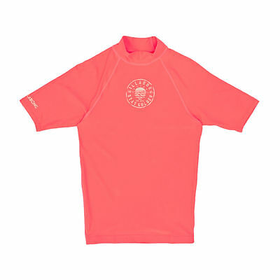 Billabong Rash Vests - Billabong Girl's Logo Short Sleeve Rash Vest - Neon Coral