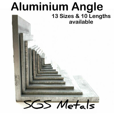 ALUMINIUM Equal L extruded ANGLE 13 Sizes to Choose from & 10 Popular Lengths