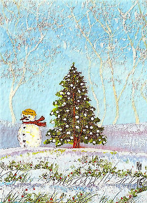 """ACEO Original """"Snowman and Tree, Christmas 2016"""" Painting, by Hélène Howse"""