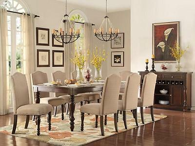 HUNTINGTON-9pc Traditional Cherry Brown Rectangular Dining Room Table Chairs Set