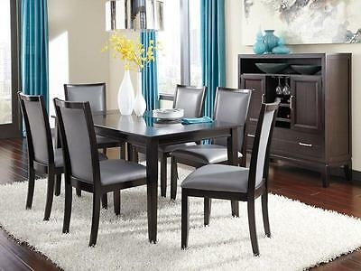 SILVERTON - 7pcs Modern Gray Rectangular Dining Room Table Chairs Set Furniture
