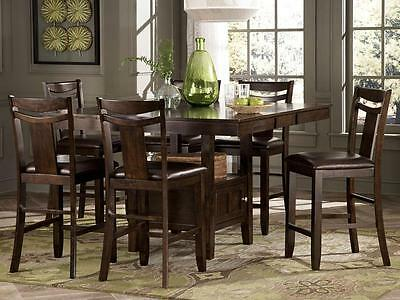 DRESDEN-7pcs Square Rectangular Counter Height Dining Room Table Chairs Pub Set