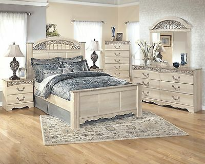 HUNTER - 5pcs Traditional Cottage White Queen Panel Bedroom Set Furniture