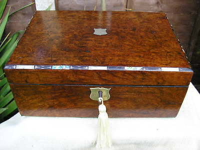 NICE c 1870 THUYA WOOD  WITH MOTHER OF PEARL & ABALONE INLAY JEWELLERY BOX  ACE.